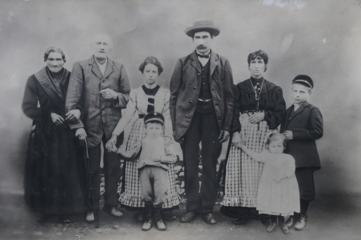 Antonio Pasin (far right), founder of Radio Flyer, circa 1905, as a boy in Rosa, Italy with his family.